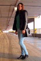 F&F boots - allegro jacket - second-hand sweater - OASAP bag - TK Maxx pants