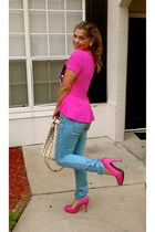hot pink JustFab pumps - blue H&M jeans - hot pink Minnie Mouse shirt