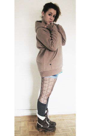 dark brown leather no brand boots - brown lace tights