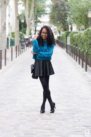 blue OASAP sweater - black romwe skirt