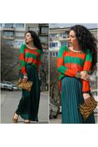 Zara bag - stripes vodo sweater - maxi skirt Zara skirt
