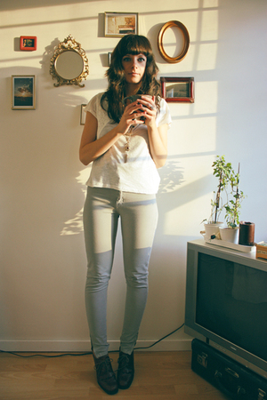gray American Apparel pants - brown vintage shoes - white ecote top