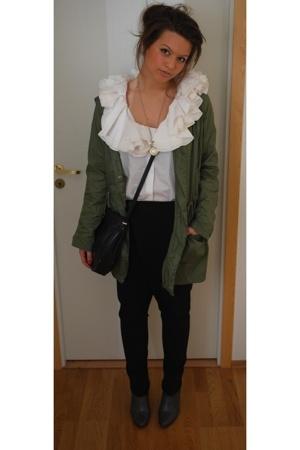 acne blouse - Topshop jacket - Zara pants - vintage purse - Skopunkten shoes