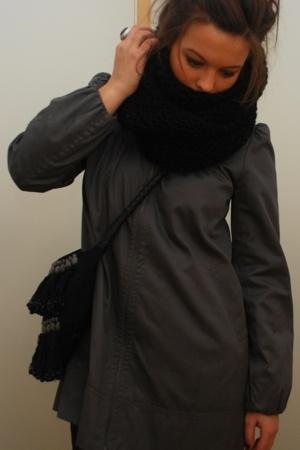 H&M scarf - H&M jacket - Zara purse - acne dress - acne boots