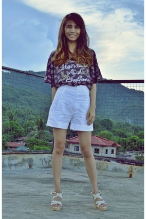 shorts - blouse - wedges