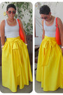 Yellow-diy-skirt-red-kate-spade-bag-silver-gap-t-shirt