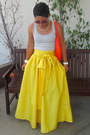 Red-kate-spade-bag-silver-gap-t-shirt-yellow-diy-skirt