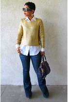 H&M sweater - Forever 21 jeans - DIY shirt - coach bag