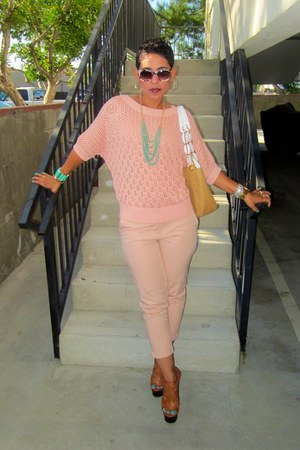 brown Steve Madden pumps - light pink Forever 21 sweater - nude Michael Kors bag
