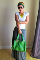 heather gray DIY skirt - olive green Michael Kors bag