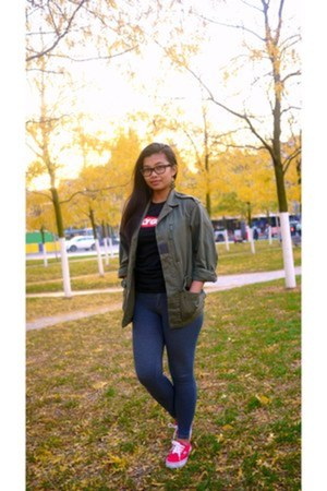 Urban Outfitters jacket - Vans shoes - team manila shirt - Ray Ban glasses