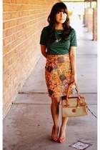 thrifted vintage skirt - Dooney & Bourke purse - banana republic blouse