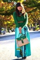 aquamarine maxi as skirt H&M dress - green Zara sweater - green Aldo purse