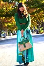 Aquamarine-maxi-as-skirt-h-m-dress-green-zara-sweater-green-aldo-purse