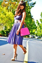violet H&M dress - bubble gum thrifted vintage purse - nude Steve Madden pumps