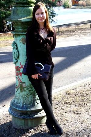 dark brown KappAhl cardigan - black new look heels