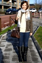 light blue Burberry scarf - army green Zara jacket
