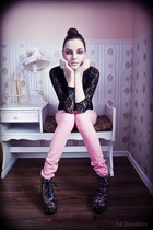 cotton Bershka jeans - lace no name bodysuit - JCampbell heels
