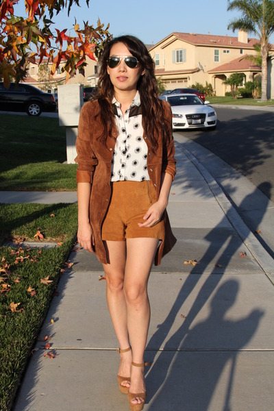 white Zara blouse - burnt orange suede leather vintage jacket