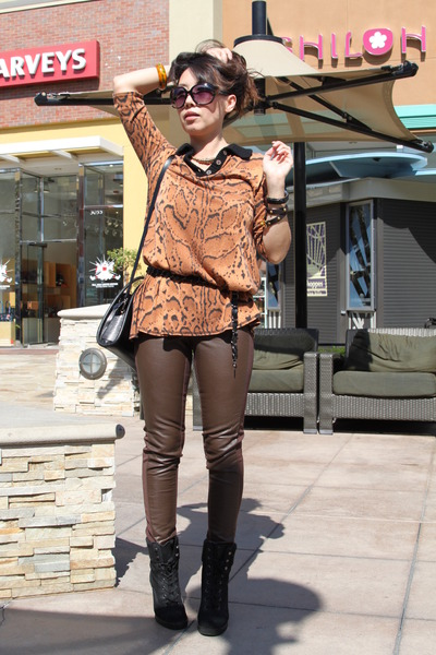 bronze cardigan - black Aldo boots - dark brown leather pants H&M pants