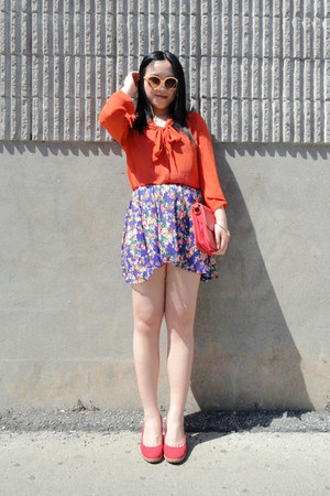 deep purple Urban Outfitters skirt - red Celin bag - red Urban Outfitters wedges