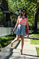 light blue denim Top Shop skirt - red Fornarina heels