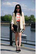 black Black Bead skirt - light yellow American Apparel blazer