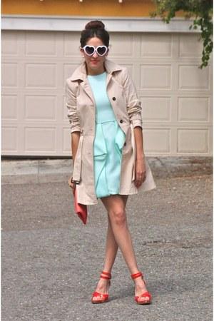 light blue Tibi dress - tan Zara coat - red Sergio Rossi heels