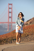 blue Gap jacket - light blue Gap dress - white Sperry Topsiders loafers