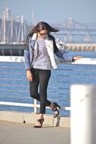 black Theory pants - navy Zara jacket - white Zara shirt - off white H&M vest