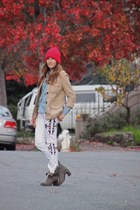 camel Jeffrey Campbell boots - white Tobi jeans - hot pink asos hat
