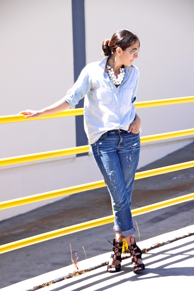 sky blue J Crew jeans - light blue Madwell shirt - black Zara heels