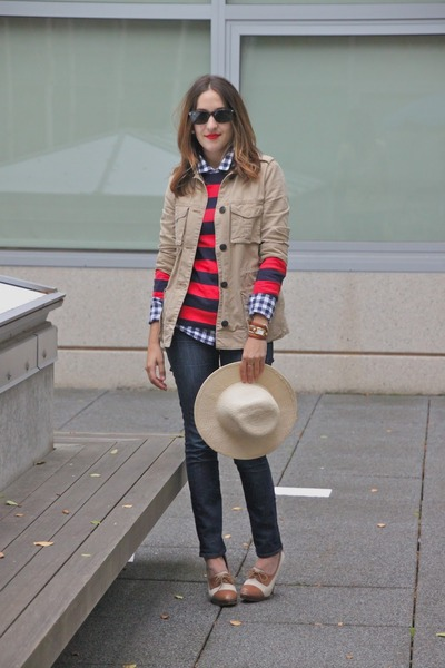 navy JCrew shirt - red Gap shirt - navy J Brand jeans - tan Gap jacket