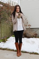 fur Target scarf - Nordstrom boots - Old Navy cardigan
