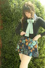 Blue-vintage-dress-black-forever-21-cardigan-white-target-tights