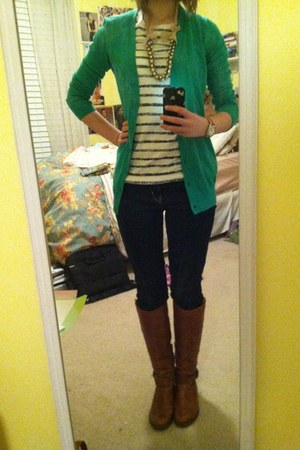 green Gap cardigan - brown Aldo boots - Gap jeans - tan J Crew necklace