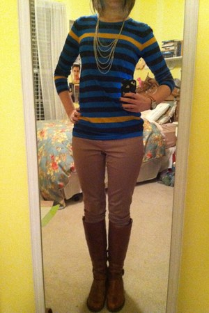 blue J Crew shirt - brown Aldo boots - tan Gap jeans - ivory necklace
