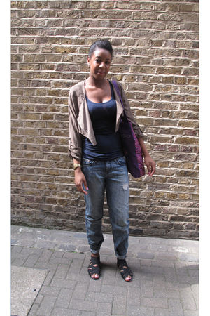 green Mags and Pye jacket - blue Urban Outfitters jeans - black Topshop shoes