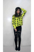 black top - black hat - light yellow Ebay sweater - black bandage DIY leggings