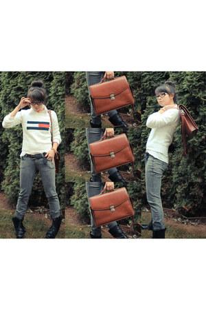 thifted Vintage bag bag - Steve Madden boots - Tommy Hilfiger sweater
