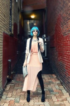 peach asymmetrical thrifted dress - off white thrifted vintage blazer