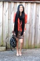 Country Road scarf - Ladakh dress - coco latte jacket - Prada bag