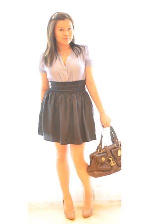blue Zara shirt - blue Zara skirt - beige BCBG shoes - brown coach purse