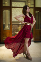 brick red Love dress - gold gucci belt Gucci belt