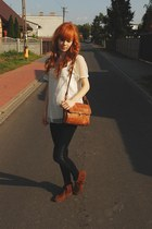 off white lace KappAhl blouse - dark brown H&M shoes - burnt orange vintage bag