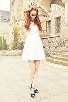 white Bershka dress - light pink H&M scarf - black Papilion heels