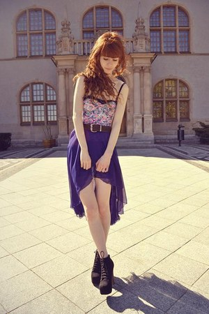 purple sh DIY skirt - bubble gum Bershka bodysuit - black stylowebutkipl heels