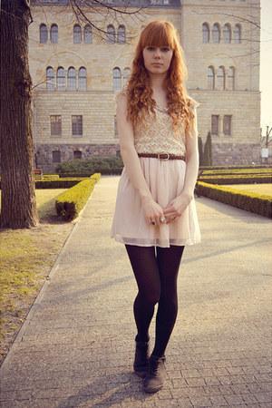 light pink H&M dress - neutral vintage top - brown Cubus belt