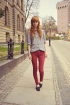red Bershka pants - silver vitnage shirt - black Fleq loafers