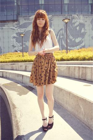 black Papilion heels - eggshell H&M top - mustard Sheinside skirt